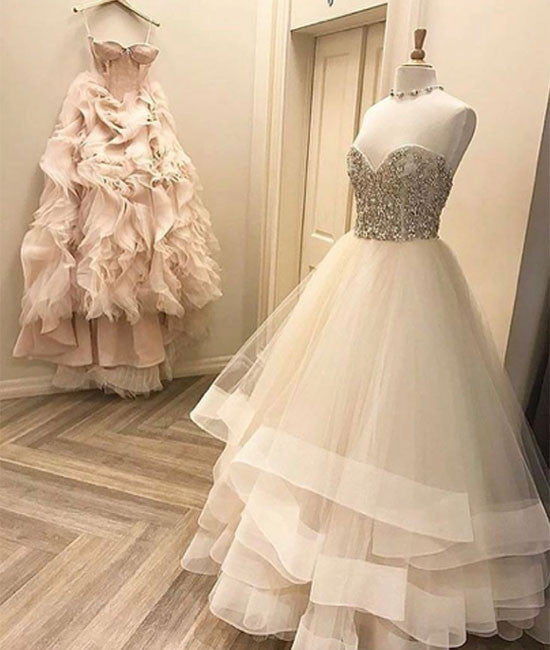 Cute white tulle long prom dress, white formal dress - shdress