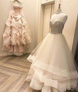 4d331d8372f Cute white tulle long prom dress