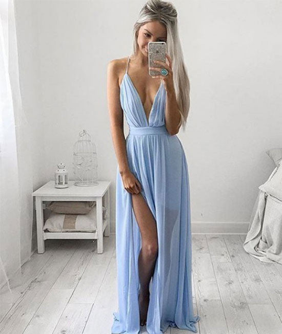 A-line V neck blue chiffon long prom dress, evening dress
