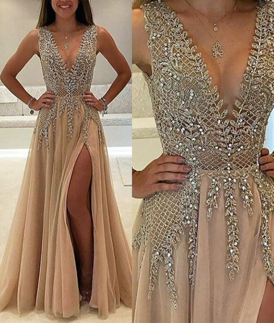 Unique v neck beaded long prom dress, champagne evening dress