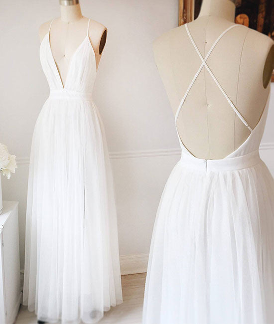 Simple white v neck tulle long prom dress, white evening dress - shdress