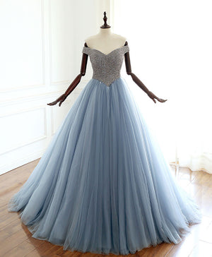 Unique gray blue tulle beads long prom dress, blue evening dress - shdress