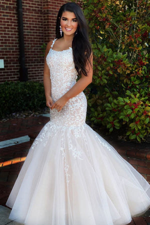 Champagne tulle lace mermaid long prom dress lace formal dress