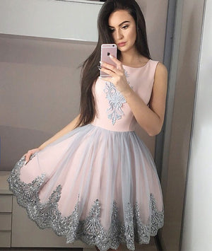 Pink tulle lace short prom dress, pink tulle homecoming dress - shdress