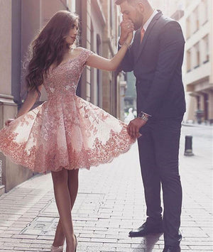 Pink off shoulder lace short prom dress, cute homecoming dress - shdress