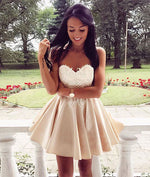Cute champagne lace applique short prom dress, cute homecoming dress