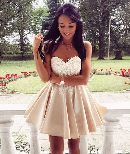 Cute champagne lace applique short prom dress, cute homecoming dress - shdress