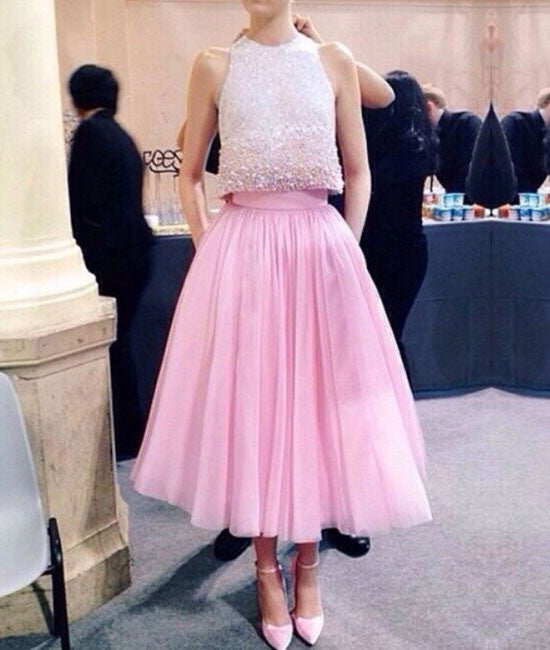 Pink two pieces sequin prom dress, pink formal dress - shdress