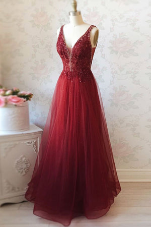 Burgundy v neck tulle sequin lace long prom dress