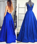Simple V Neck Blue Long Prom Gown, Evening Dresses