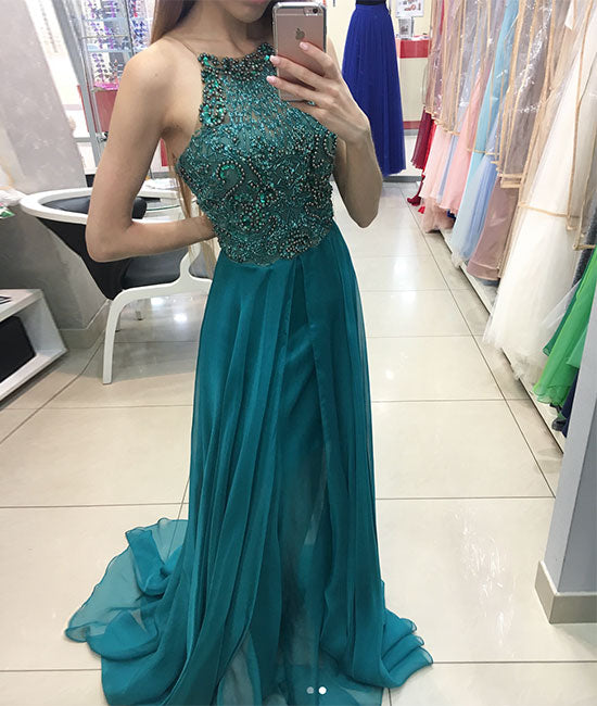 Green chiffon round neck tulle beads long prom dress, green evening dress