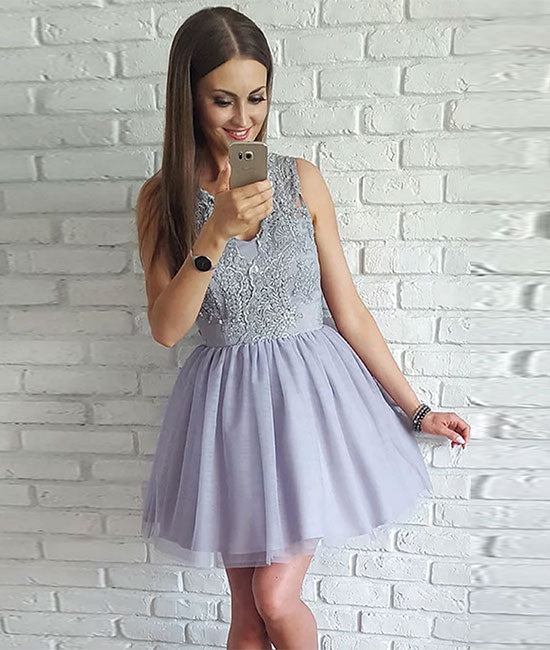 Gray v neck lace tulle short prom dress homecoming dress