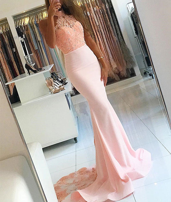 Pink lace mermaid prom dress, mermaid bridesmaid dress - shdress