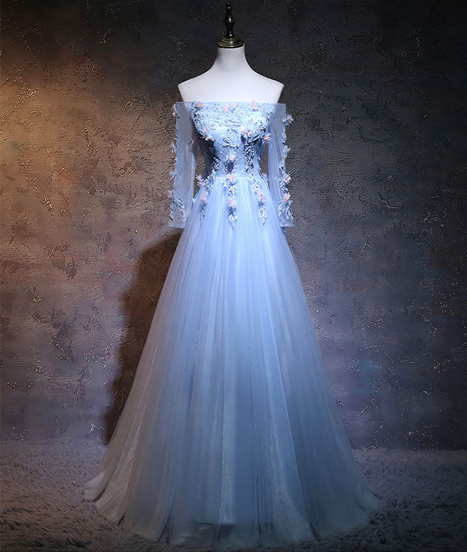 Unique tulle lace applique long prom dress, blue evening dress - shdress
