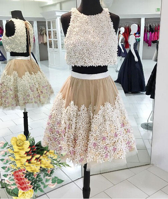 cute two pieces applique short prom dress, homecoming dress - shdress