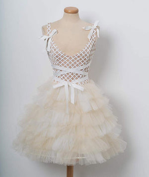 Champagne tulle short prom dress. champagne homecoming dress - shdress
