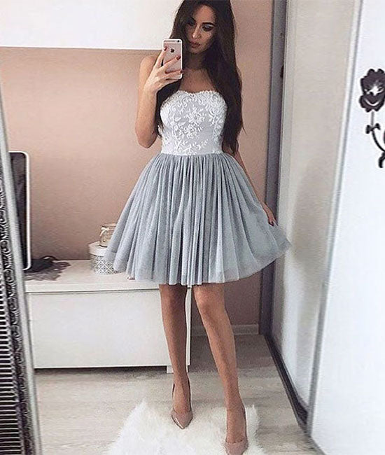 Gray tulle lace short prom dress, gray homecoming dress - shdress