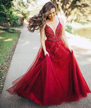 Burgundy v neck tulle long prom dress, burgundy evening dress - shdress