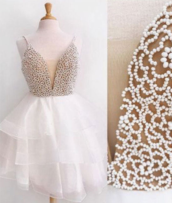 White v neck tulle beads short prom dress, white homecoming dress