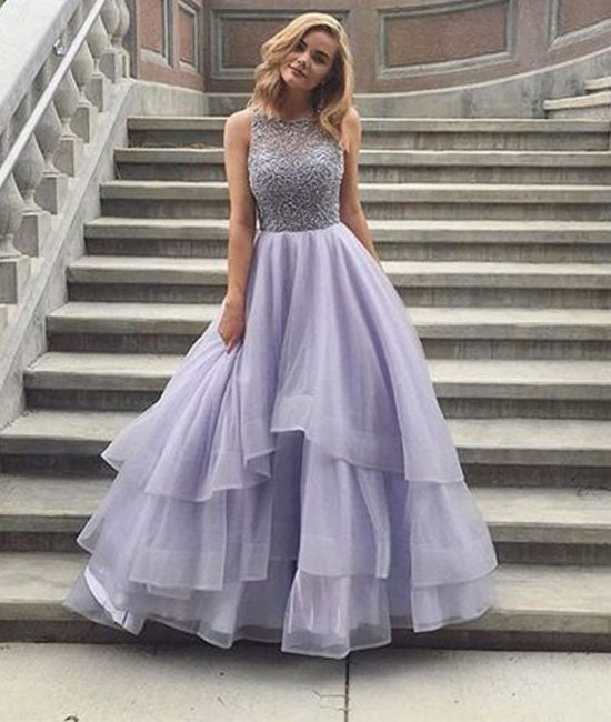 Cute round neck sequin long prom dress, tulle formal dress - shdress