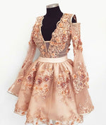 Cute champagne lace applique short prom dress, homecoming dress