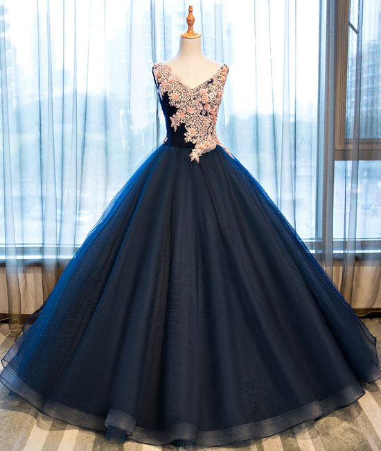 Dark blue v neck satin lace long prom gown ,dark blue evening dress - shdress