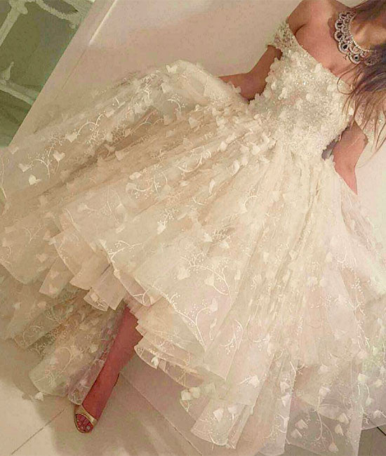 Unique white lace prom dress, cute white lace formal dress