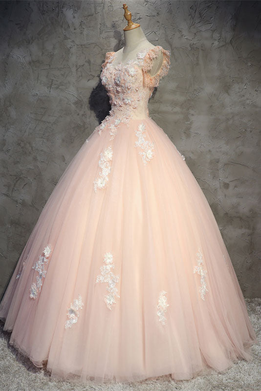Pink tulle lace long prom dress, pink tulle evening dress