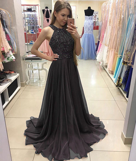 Deep gray chiffon long prom dress, deep gray evening dress