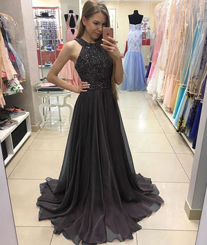 Deep gray chiffon long prom dress, deep gray evening dress - shdress