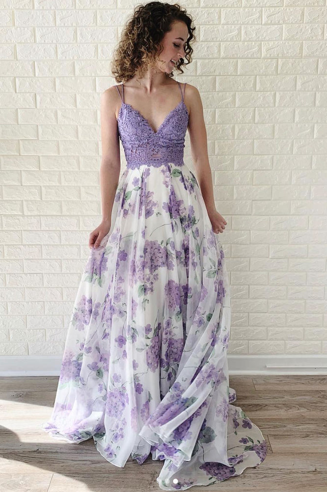 Purple tulle lace long prom dress, purple lace evening dress