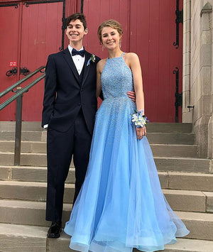 Blue tulle beads long prom dress, blue tulle evening dress
