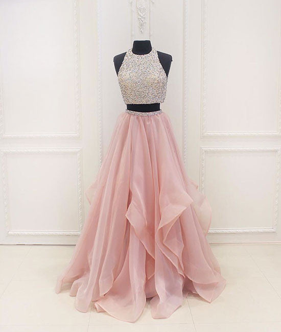 Unique two pieces sequin pink long prom dress, evening dress - shdress