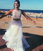 White two pieces sequin tulle prom dress, white evening dress