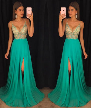 green v neck chiffon sequin beads long prom dress, green evening dress - shdress