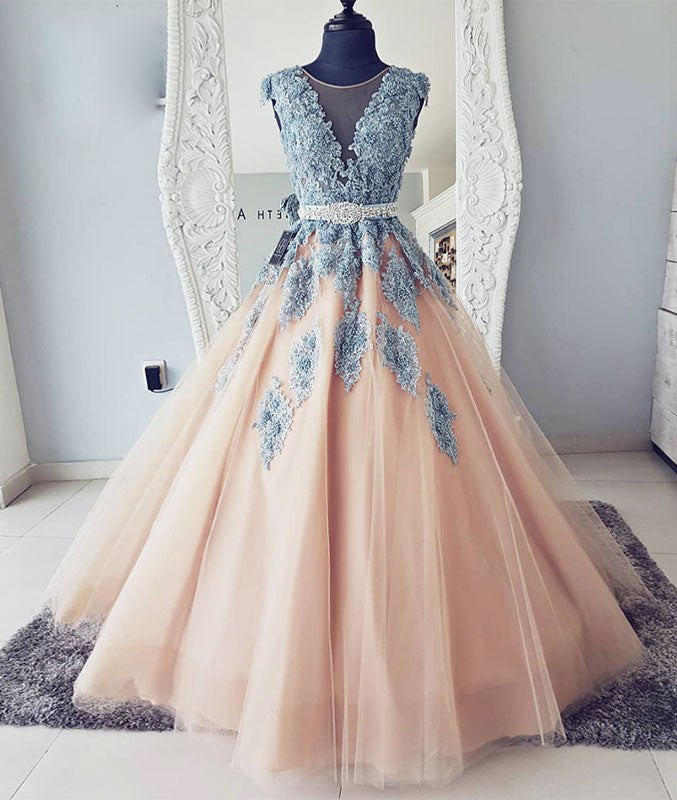 Champagne tulle lace long prom dress, champagne tulle evening dress - shdress