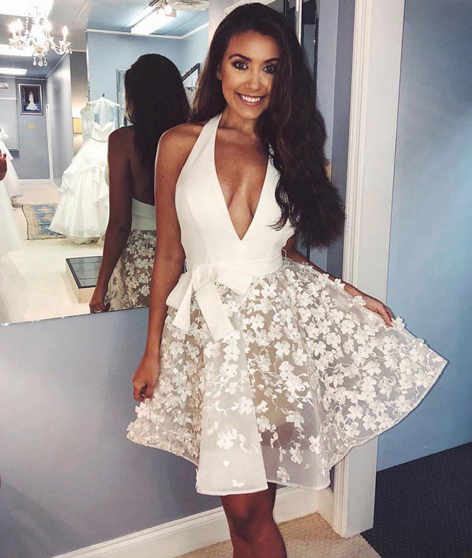 White v neck tulle short prom dress, white tulle lace homecoming dress