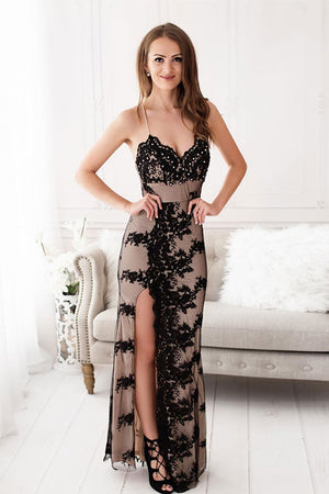 Black sweetheart lace tulle long prom dress, black evening dress - shdress