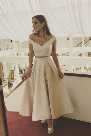 Simple champagne tea Length prom dress, evening dress
