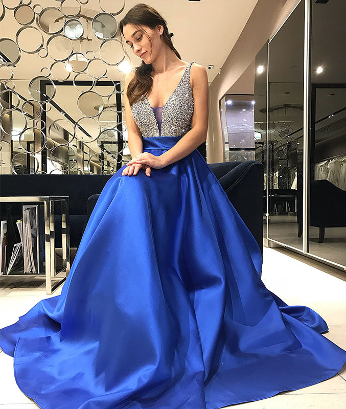 Blue v neck sequin long prom dress, blue evening dress - shdress