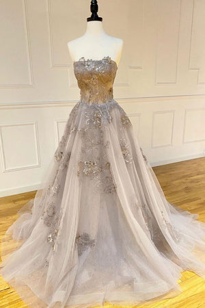 Champagne tulle lace long prom dress lace formal dress