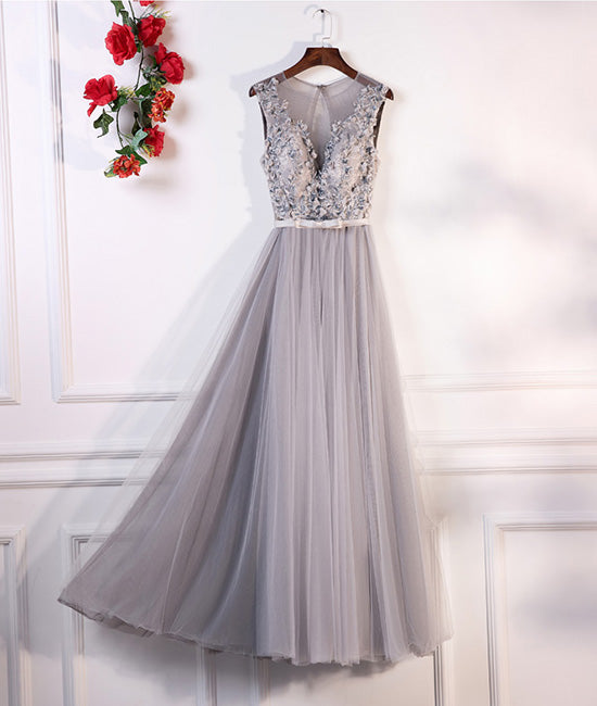 Gray round neck lace tulle long prom dress, gray evening dress