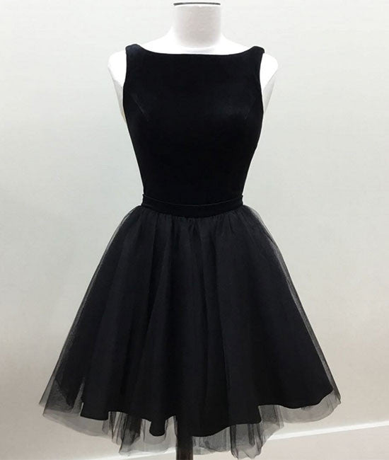 Black tulle short prom dress, cute black homecoming dress