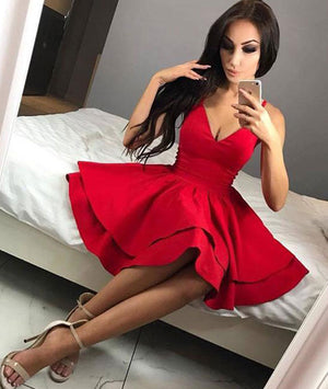 Simple red short prom dress, red homecoming dress