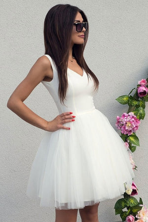 Simple white tulle short prom dress white homecoming dress