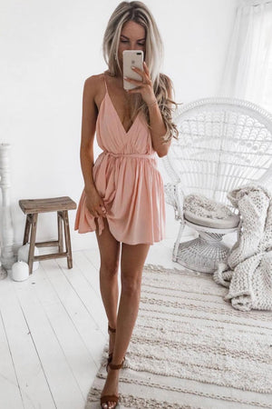 Simple pink short prom dress, pink evening dress