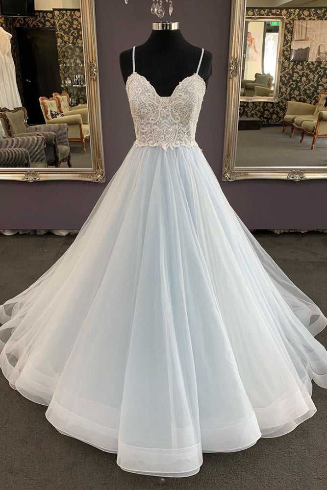 Unique sweetheart tulle lace long prom dress, lace evening dress