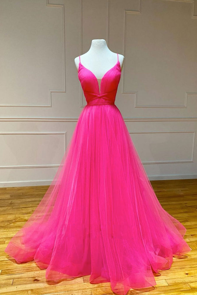 Simple pink v neck tulle long prom dress pink formal dress