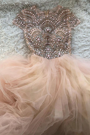 Pink round neck tulle beads long prom dress pink tulle formal dress
