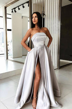 Simple gray satin long prom dress, gray evening dress